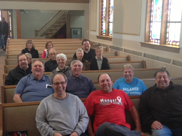 church members in new pews