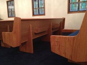 church pew side and back
