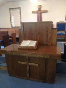 matching wooden church furniture