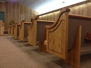 church pew side