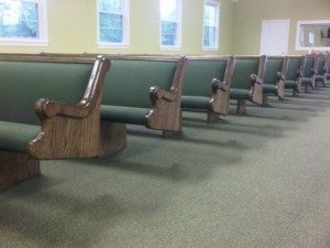green church pews