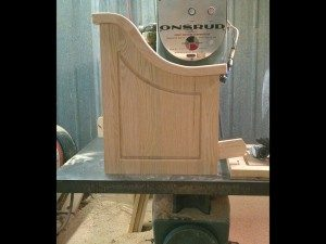 church pew end in making