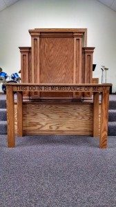 church table and pulpit