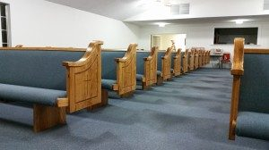 blue church pews