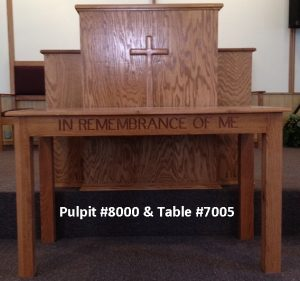 wooden church pulpit and table