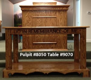 wooden pulpit and church table