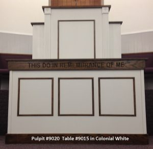 pulpit and table in colonial white