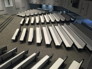 rows of white church pews