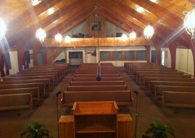 inside church view from behind pulpit