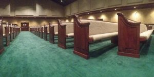 church pews looking up the aisle