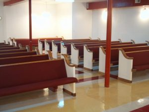 church pews with white ends