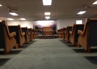 rows of pews as seen from aisle