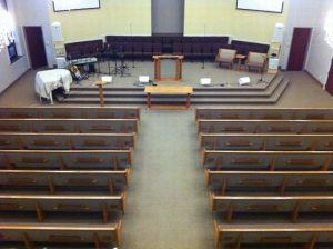 aerial view of church pews