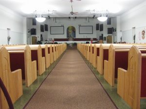 church pews with wooden ends