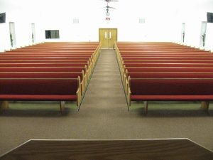 rows of red church pews