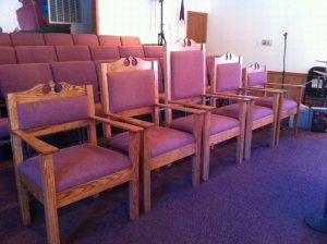 church chairs with curved tops