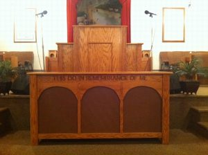 church pulpit and table