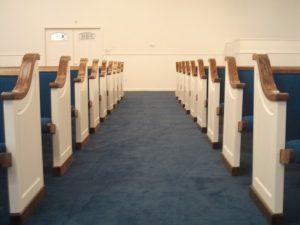 blue church pews
