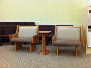 single seat church pew