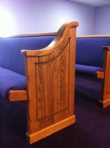 church pew end