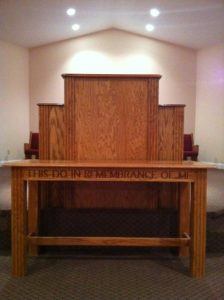 church table and pulpit with no cross