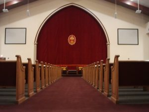 church aisle and pews