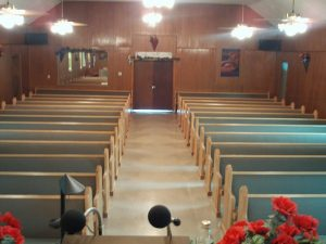 church pews from pulpit