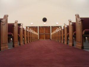 aisle view of church pews