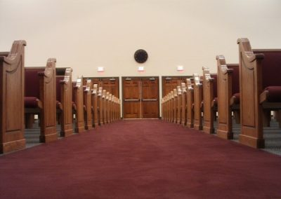 aisle view of church pews