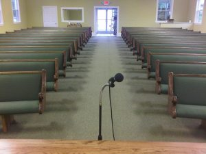 church pews as seen from pulpit