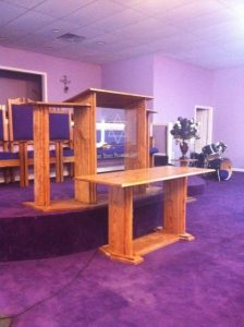 custom table and pulpit with glass