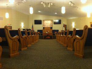 church aisle and pews