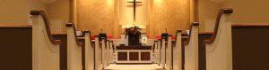 church pews aisle view