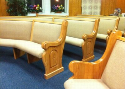 curved church pews