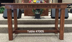 """""""this do in remembrance of me"""" wooden table"""
