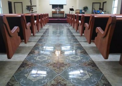 church pews from the back of the aisle