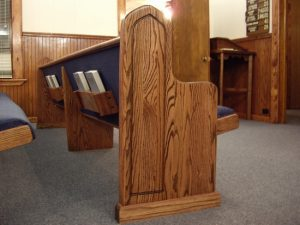 ends of pews and bible holders