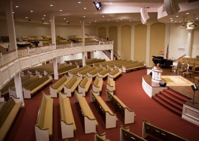 aerial view of church pews