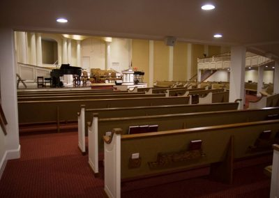view of church pews
