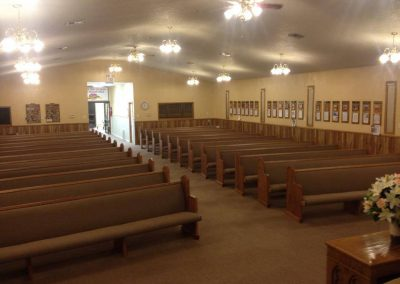 front of church pews