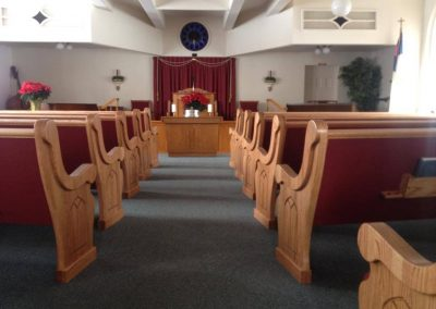 church pews and pulpit