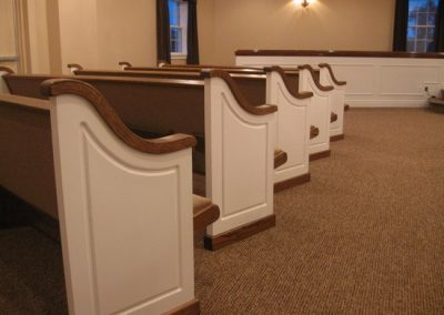 white church pew ends