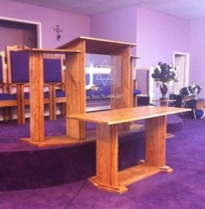 custom pulpit with glass