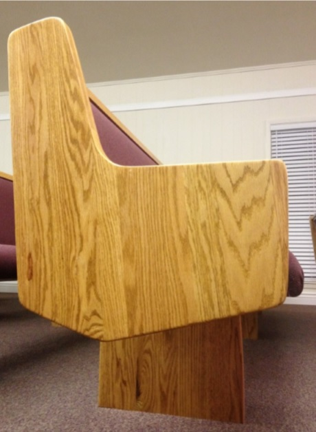 Simple wooden church pew end from Born Again Pews