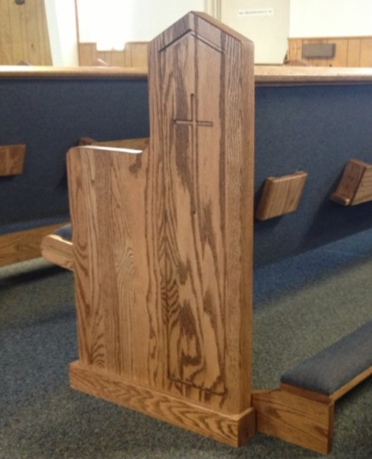 Church pew end made of wood from Born Again Pews