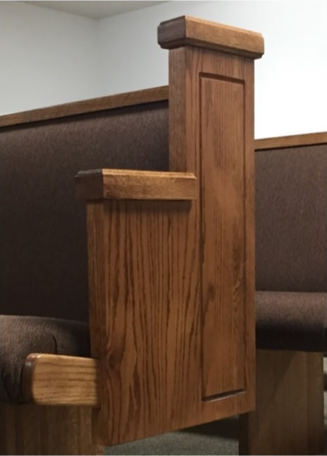 Wooden church pew end from Born Again Pews