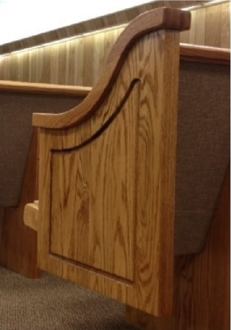 Light wood church pew ends