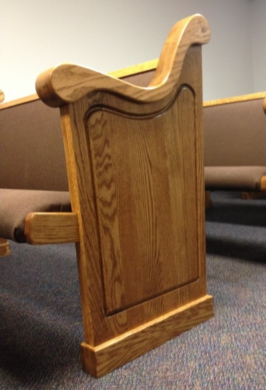 Wooden church pew end designed by Born Again Pews