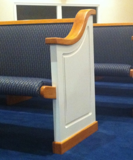 White church pew ends from Born Again Pews