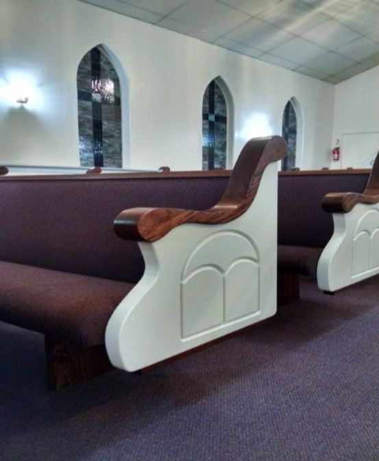 Wide custom-made white church pew ends